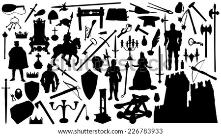 sixty medieval silhouettes on the white background - stock vector