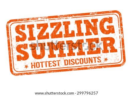 Sizzling summer grunge rubber stamp on white background, vector illustration - stock vector