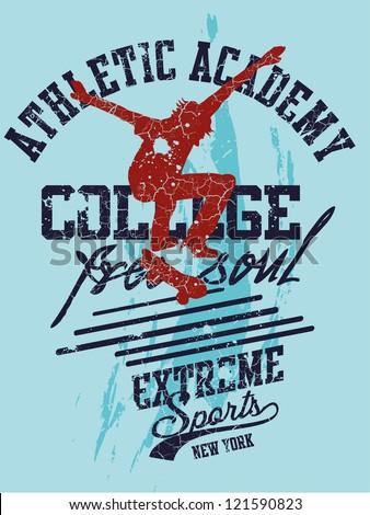 skate american college - stock vector