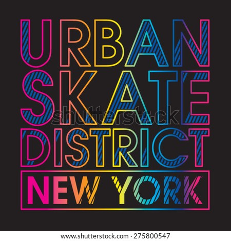 Skate freestyle typography, t-shirt graphics, vectors - stock vector