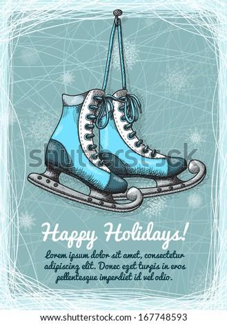 Skate holidays winter invitation on ice vector illustration - stock vector