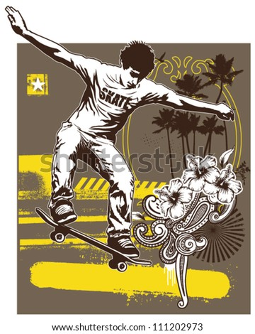 skate rider with beauty background - stock vector