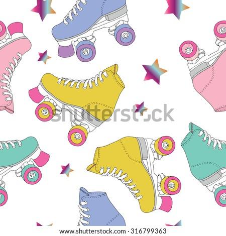 Skate rolls pattern seamless vector drawing - stock vector