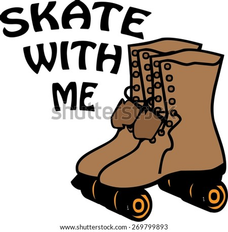 Skate With Me - stock vector