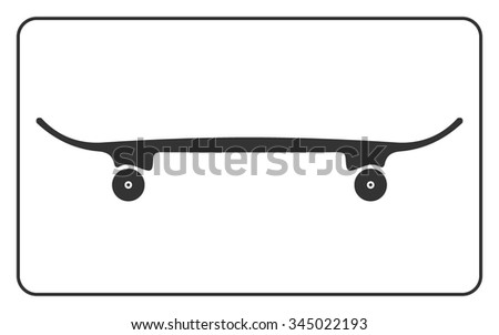 Skateboard icon. Skateboarding symbol. Equipment for extreme sport. Visibility from the side in profile. Gray sign silhouette isolated on white background. Design element. Flat Vector illustration. - stock vector