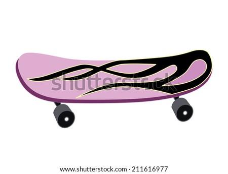 skateboard isolated on white background (vector illustration) - stock vector