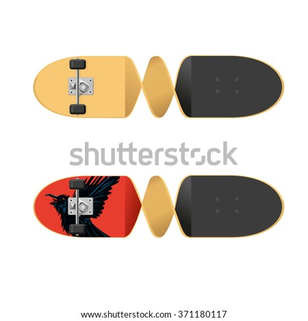 Skateboard isolated on white. Two sides of a skateboard. Isolated vector illustration.  Twisted board. - stock vector
