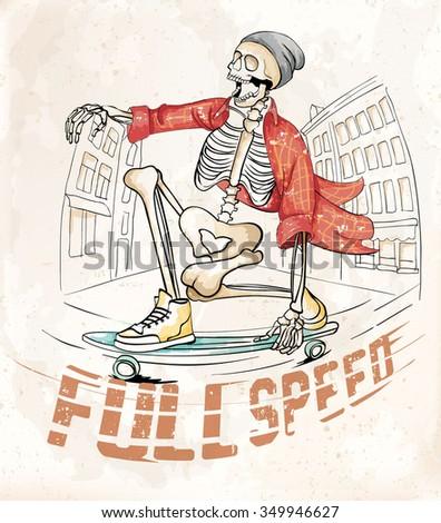 skateboard skeleton  print  - stock vector