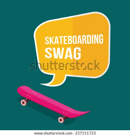 skateboard with thought bubbles on green background. flat design - stock vector