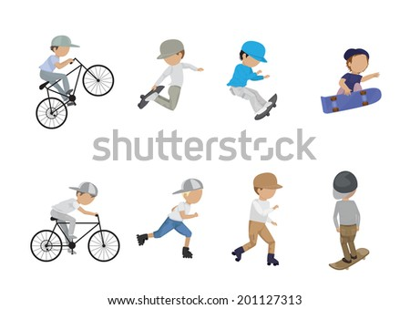 Skateboarder, Cyclist And Roller Skating Boy - Isolated On White Background - Vector Illustration, Graphic Design Editable For Your Design  - stock vector