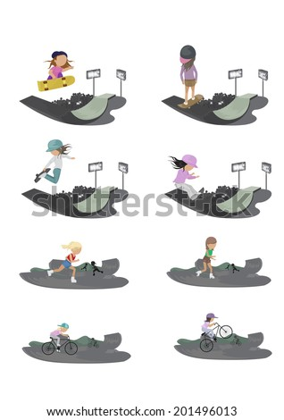 Skateboarder, Cyclist And Roller Skating Girl In Skate Park - Isolated On White Background - Vector Illustration, Graphic Design Editable For Your Design    - stock vector