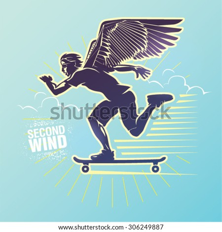 "Skateboarder in a motion. Vector illustration created in topic ""Second wind "". - stock vector"