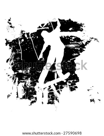 Skateboarder or snowboarder in vector silhouette with grunge style and effects - stock vector
