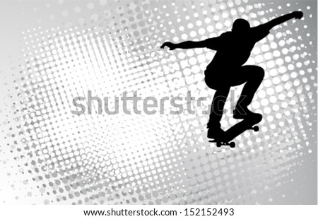 skateboarder silhouette on the abstract halftone background - stock vector