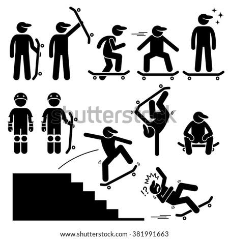 Skateboarder Skating on Skateboard Stick Figure Pictogram Icons - stock vector