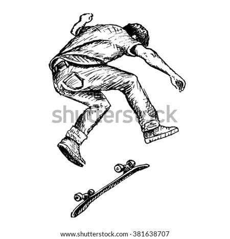 skateboarder vector sketch - stock vector