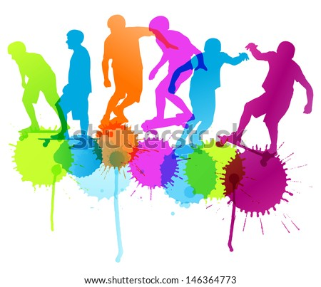 Skateboarders detailed silhouettes vector background concept with ink splashes - stock vector