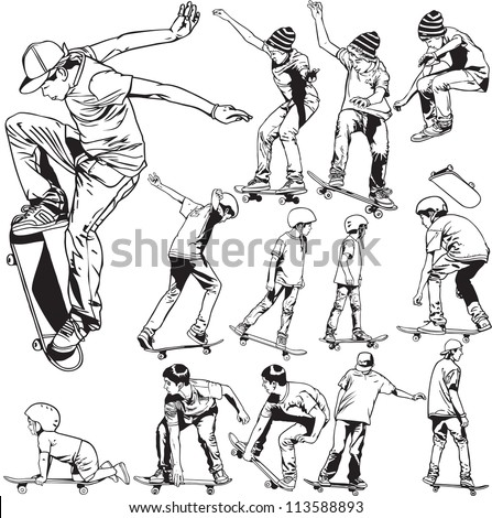 Skateboarding drawings - stock vector