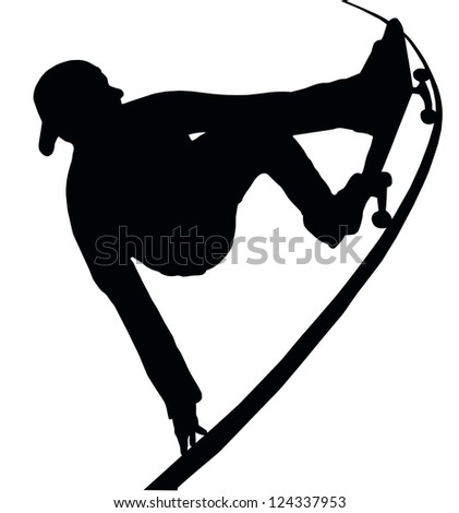 Skateboarding Skater do Grab Turn on Vert Ramp - stock vector