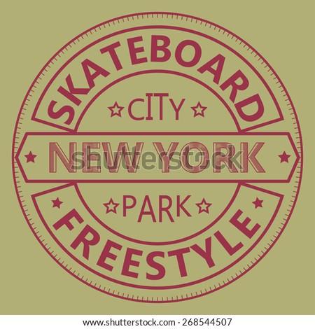 Skateboarding t-shirt graphic design. New York City Skate Board Freestyle typography - vector illustration  - stock vector