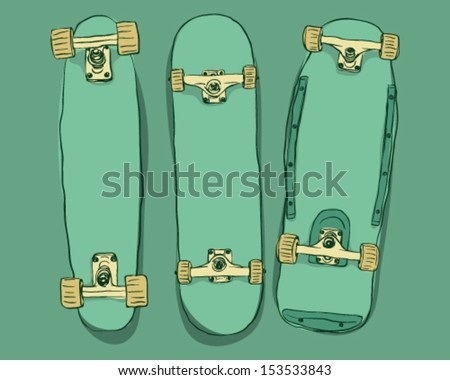 Skateboards set - stock vector
