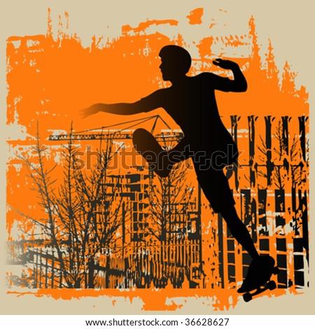 Skateboy Grunge - stock vector