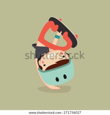 skater boy character. vector illustration - stock vector