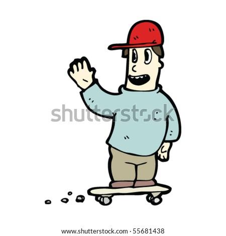 skater guy cartoon - stock vector