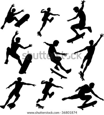 Skater Silhouettes - stock vector