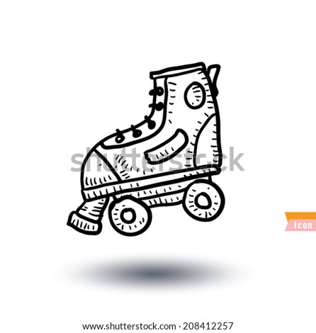 skating shoe, Sport icon, Hand drawn vector illustration - stock vector