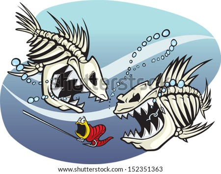 Skelefish A pair of wicked cartoon skeleton fish. Vector and high resolution jpeg files available. - stock vector