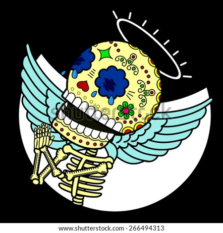 Skeleton angel looking up to the sky and with folded hands, prays to heaven for mercy - stock vector