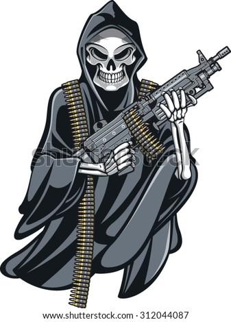 skeleton grime reaper holding m249 machine gun - stock vector