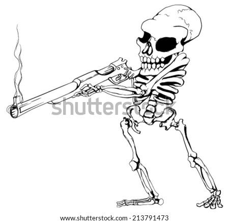 Skeleton gunman black and white vector, horizontal,  isolated  - stock vector