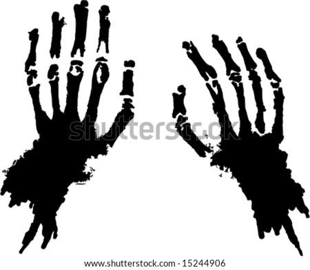 Skeleton hands, vector silhouette - stock vector