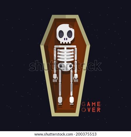 skeleton in coffin. death - vector illustration - stock vector