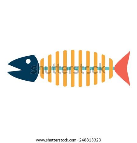 Skeleton of a fish.vector illustration. - stock vector