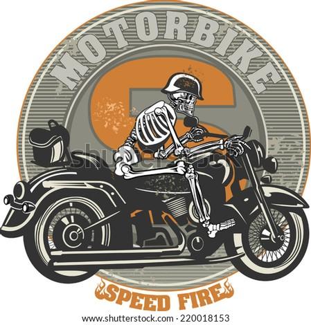 Skeleton on Motorbike - stock vector