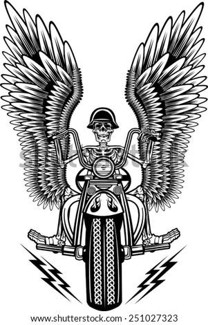 skeleton on motorcycle - stock vector