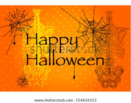 Skeleton on orange background. Nice picture on Halloween - stock vector