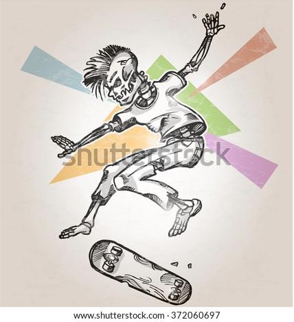skeleton skater  on abstract retro background - stock vector