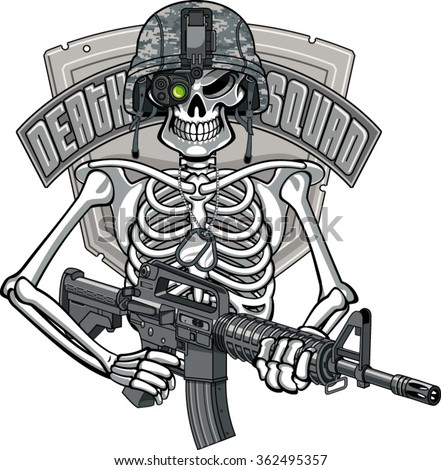 skeleton wearing military helmet, night vision goggles and holding assault rifle - stock vector