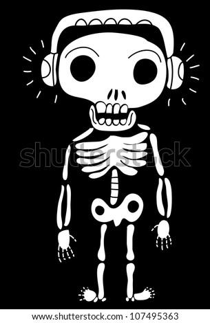 skeleton with headphones - stock vector