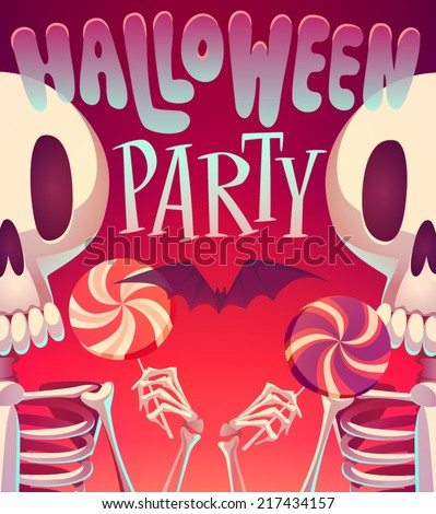 Skeletons. Halloween poster \ background \ card. Vector illustration. - stock vector