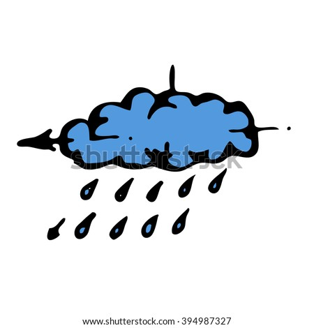 Sketch acid rain cloud. Stock hand drawn vector illustration - stock vector