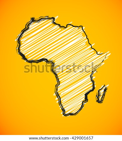 Sketch African continent Africa map  - stock vector