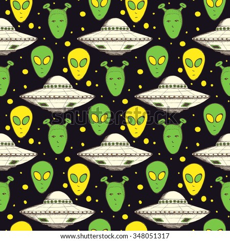 Sketch aliens and plate in vintage style, vector seamless pattern - stock vector