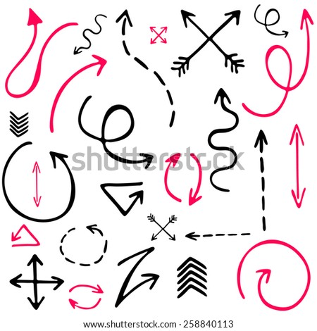 Sketch arrow set, hand draw arrows. Perfect for design. Vector illustration - stock vector