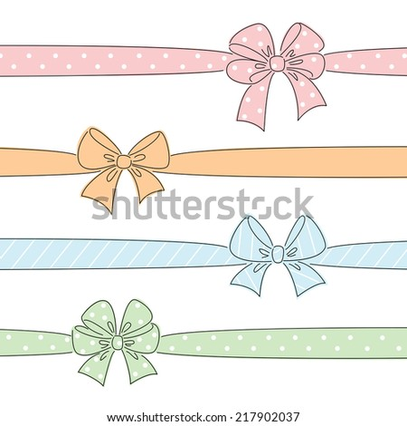 Sketch bows and ribbons colored in red, orange, blue, green. Hand drawn graphic elements for your design - stock vector