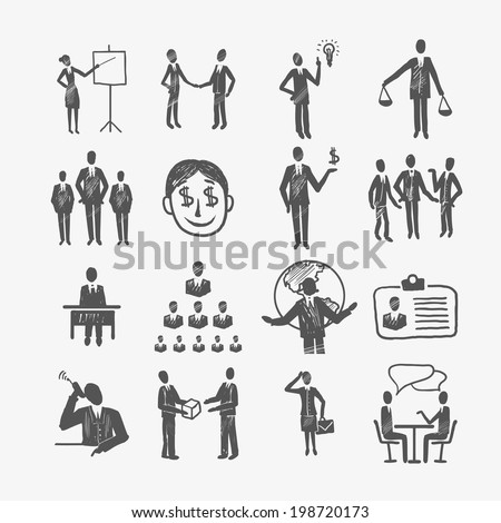 Sketch business organization management structure meeting people icon set isolated doodle vector illustration - stock vector